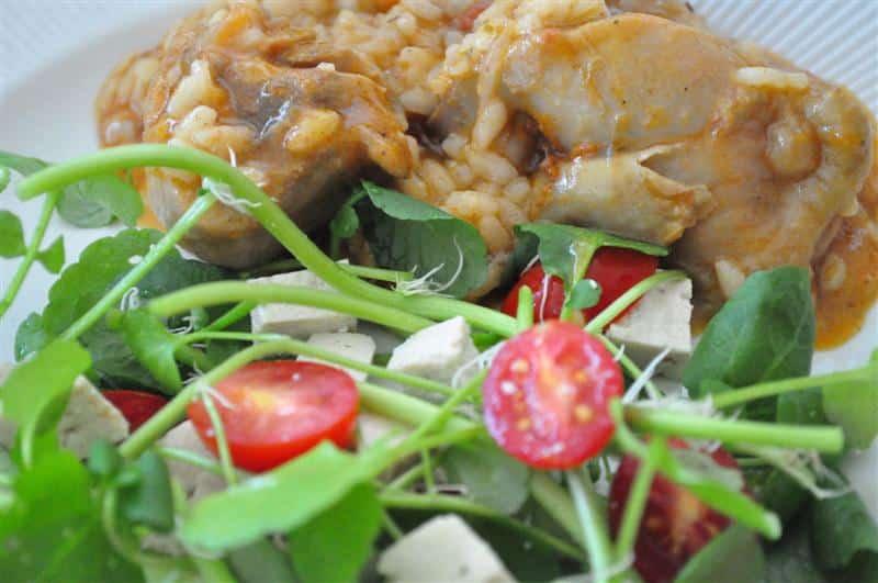 risoto de frango com arroz arboreo